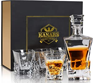 KANARS Whiskey Decanter Set With Luxury Gift Box, Premium Lead Free Crystal 27 Oz Liquor Decanter With 4 Iceberg Glass 10 Oz, For Scotch, Bourbon And Irish Whisky, 5-Piece