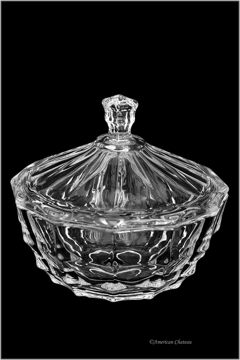 Art-Nouveau Vintage-Style Lead Free Glass Candy Dish Bowl with Lid American Chateau