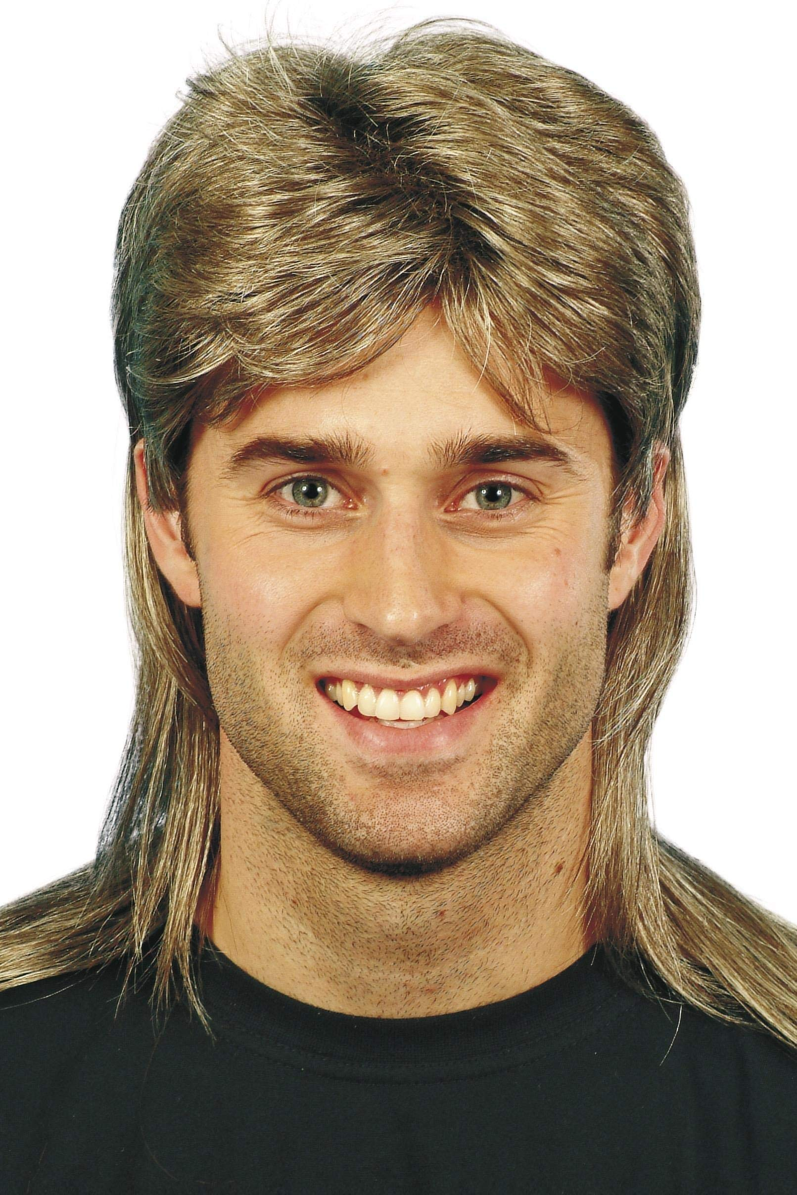 Smiffys Men's Brown Mullet Wig with Blonde Highlights, One Size, 5020570421963