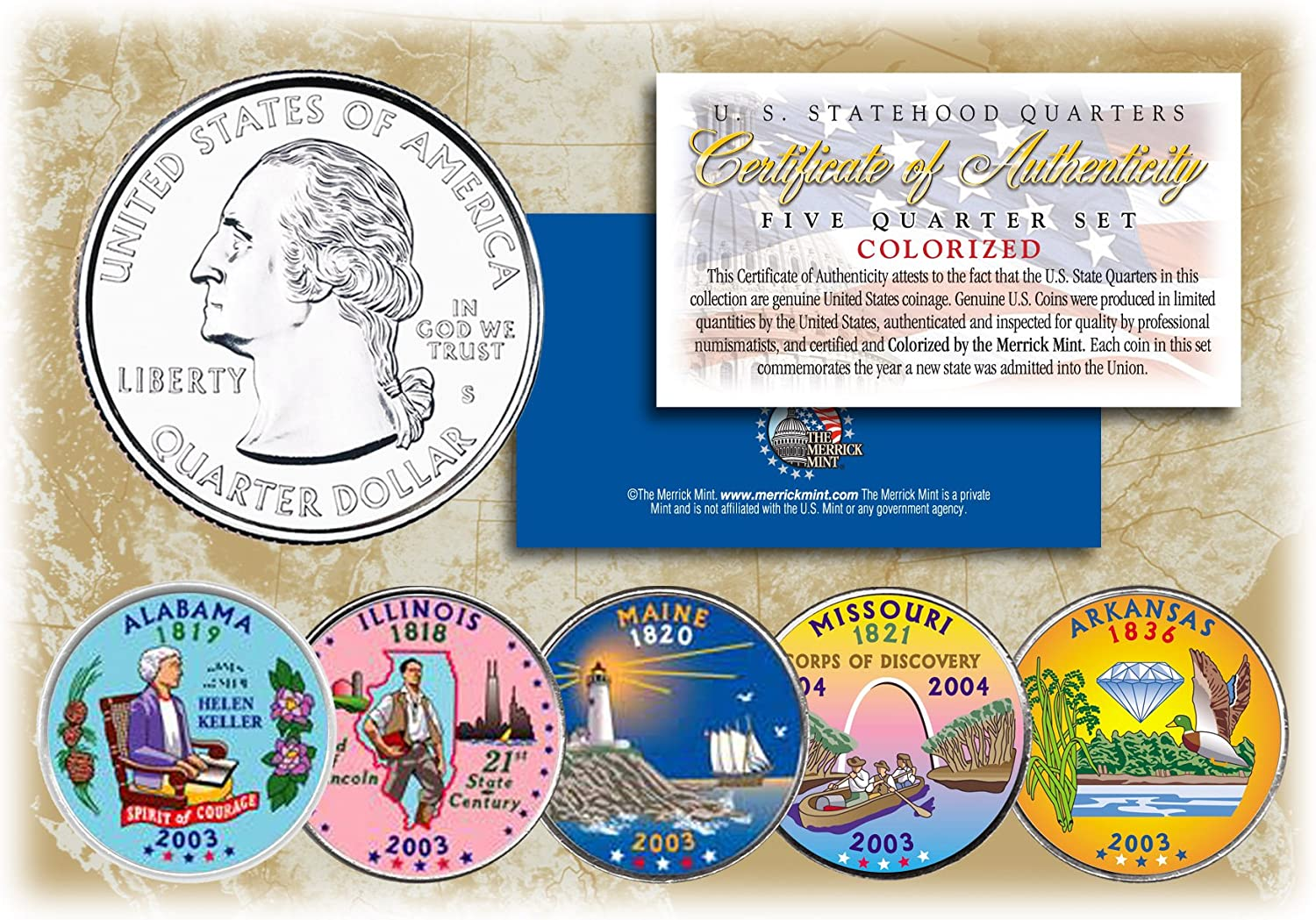 2004 Complete Set Of Colorized State Quarters 5 Coins D Mint
