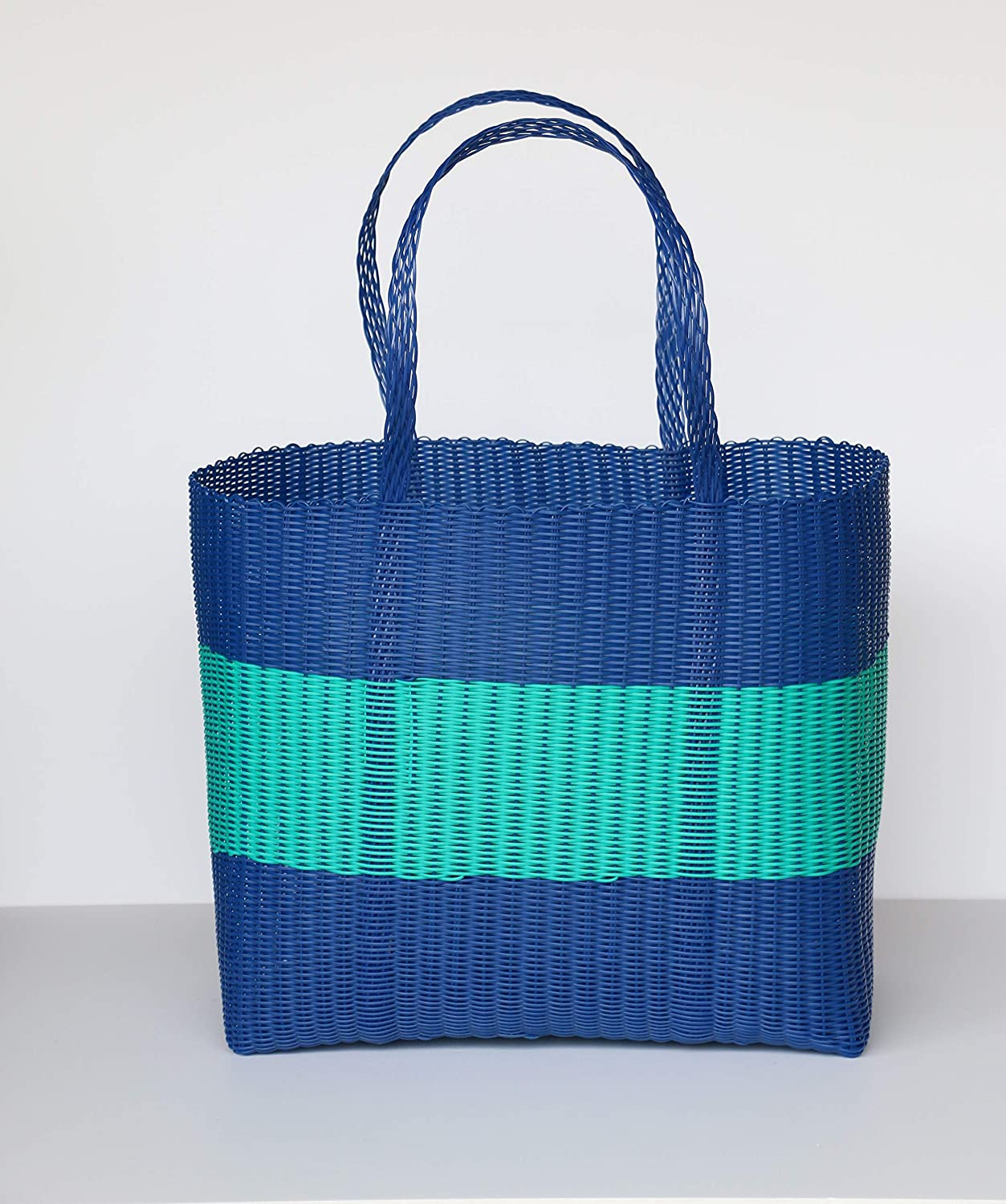 blueee with Turquois Stripe Ex Large Hand Made Woven Plastic Basket. Waterproof. Beach Bag, Picnic, Shopping Bag and Fashion Tote (Black, Ex Large)