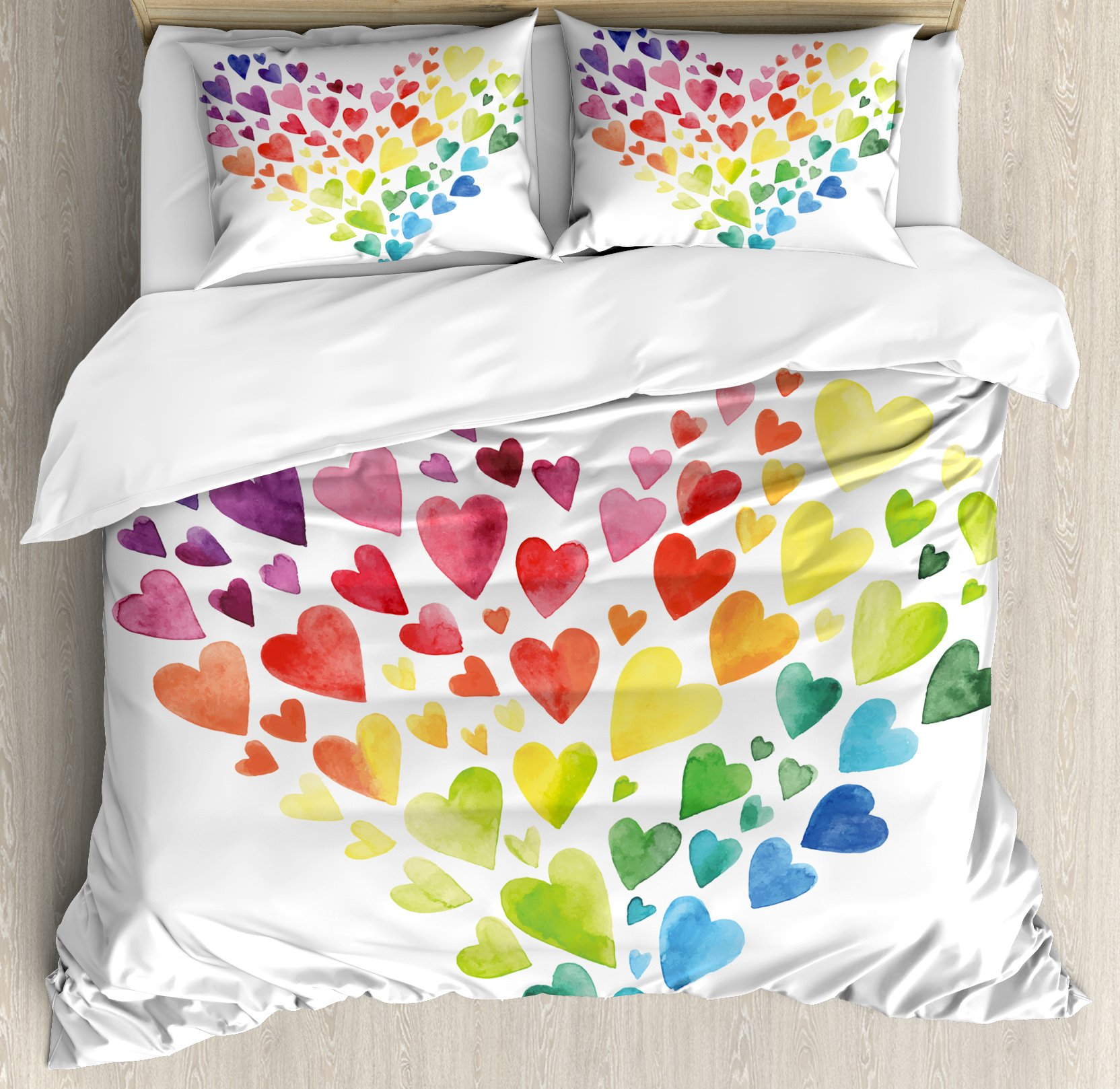 Ambesonne Rainbow Duvet Cover Set Queen Size, Multicolored Hearts forming a Giant Colorful Rainbow Inspired Heart Love Artwork, Decorative 3 Piece Bedding Set with 2 Pillow Shams, Multicolor by Ambesonne (Image #1)