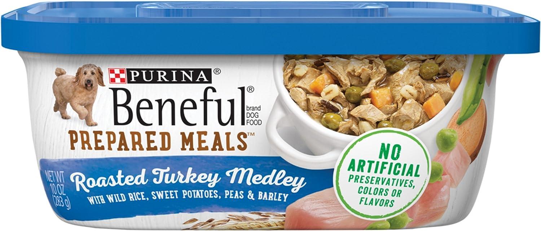 Purina Beneful Prepared Meals Roasted Turkey Medley Wet Dog Food, (8) 10 oz. Tubs