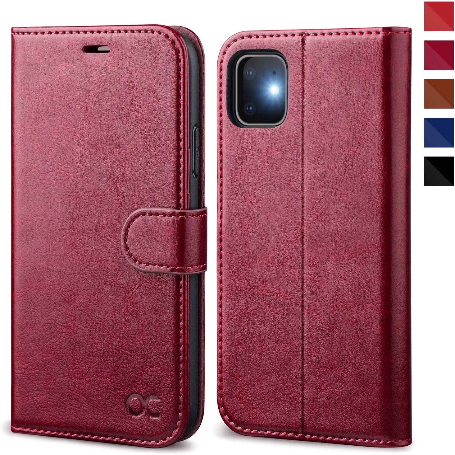 OCASE iPhone 11 Case, iPhone 11 Wallet Case with Card Holder, PU Leather Flip Case with Kickstand and Magnetic Closure, TPU Shockproof Interior Protective Cover for iPhone 11 6.1 Inch (Burgundy)