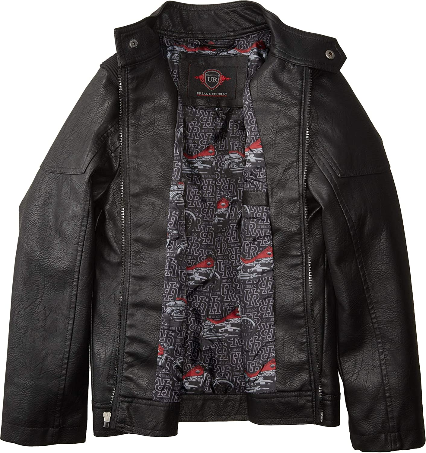 Urban Republic Kids Mens Harry Faux Leather Biker Jacket Ribbed Shoulder (Little Kids/Big Kids)