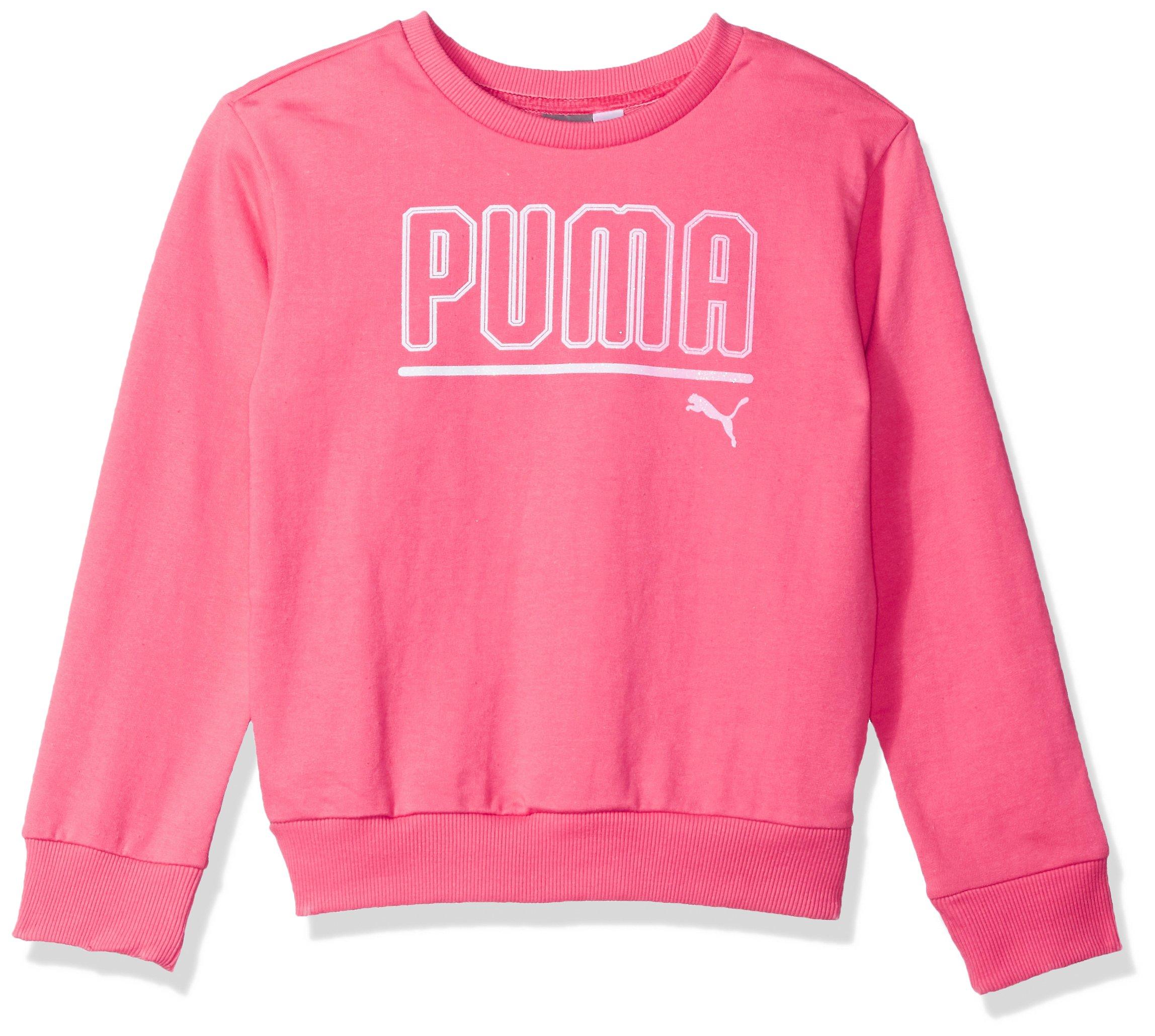 PUMA Big Girls' Crew Sweatshirt, Hot Pink, Small (7)