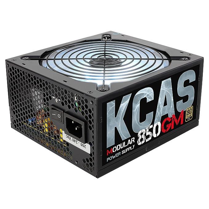 Aerocool KCAS850GM - Fuente de alimentación modular para PC (850W, ATX, 12V, PFC Activo, iluminación RGB, 3 modos LED, incluye ventilador silencioso 12cm, ...