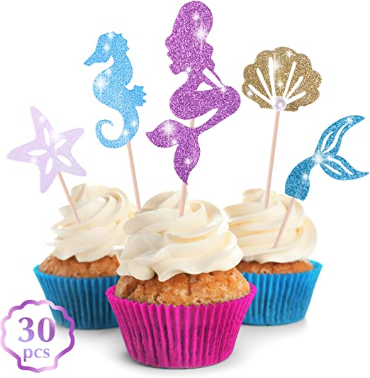 Birthday Number Paillette Cupcake Topper various colours available Set of 12