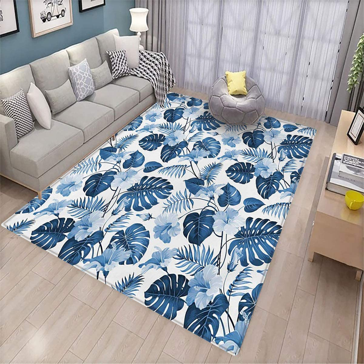 Leaf Pet Floor mat Palm and Mango Tree Branch and Hawaiian Hibiscus Flower Image Indoor Living Room Floor mat 6.5'x9.8' Pale Blue Turquoise and Dark Blue