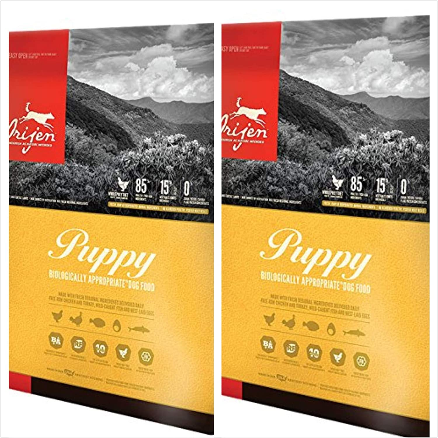 Orijen 2 Pack Puppy Dry Dog Food Formula 13 lbs. Each. Puppy Food 2 Bags = 26 Total Pounds