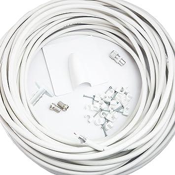 Cablefinder 25 m blanco RG6 Coaxial/Kit de extensión de cable coaxial – para interior