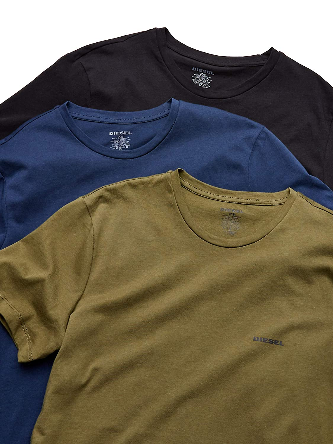 ce74a1f1770e8 Diesel Men s Umtee-jakethreepack T-Shirt Pack of 3  Amazon.co.uk  Clothing