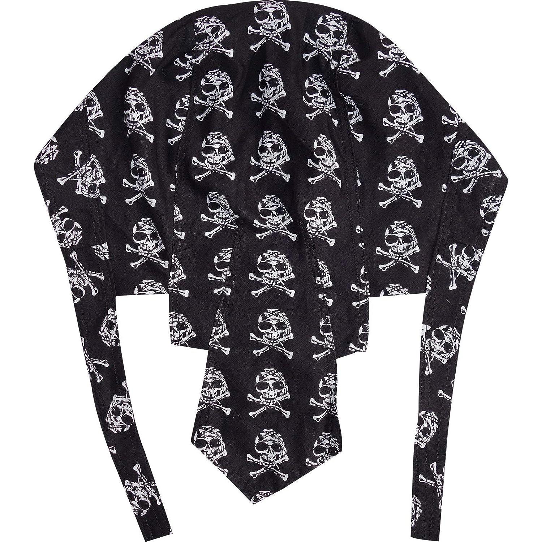 ELLU Skull Bones Black Zandana Bandana Motorbike Biker Sun Hat Cap Pirate Fancy Dress