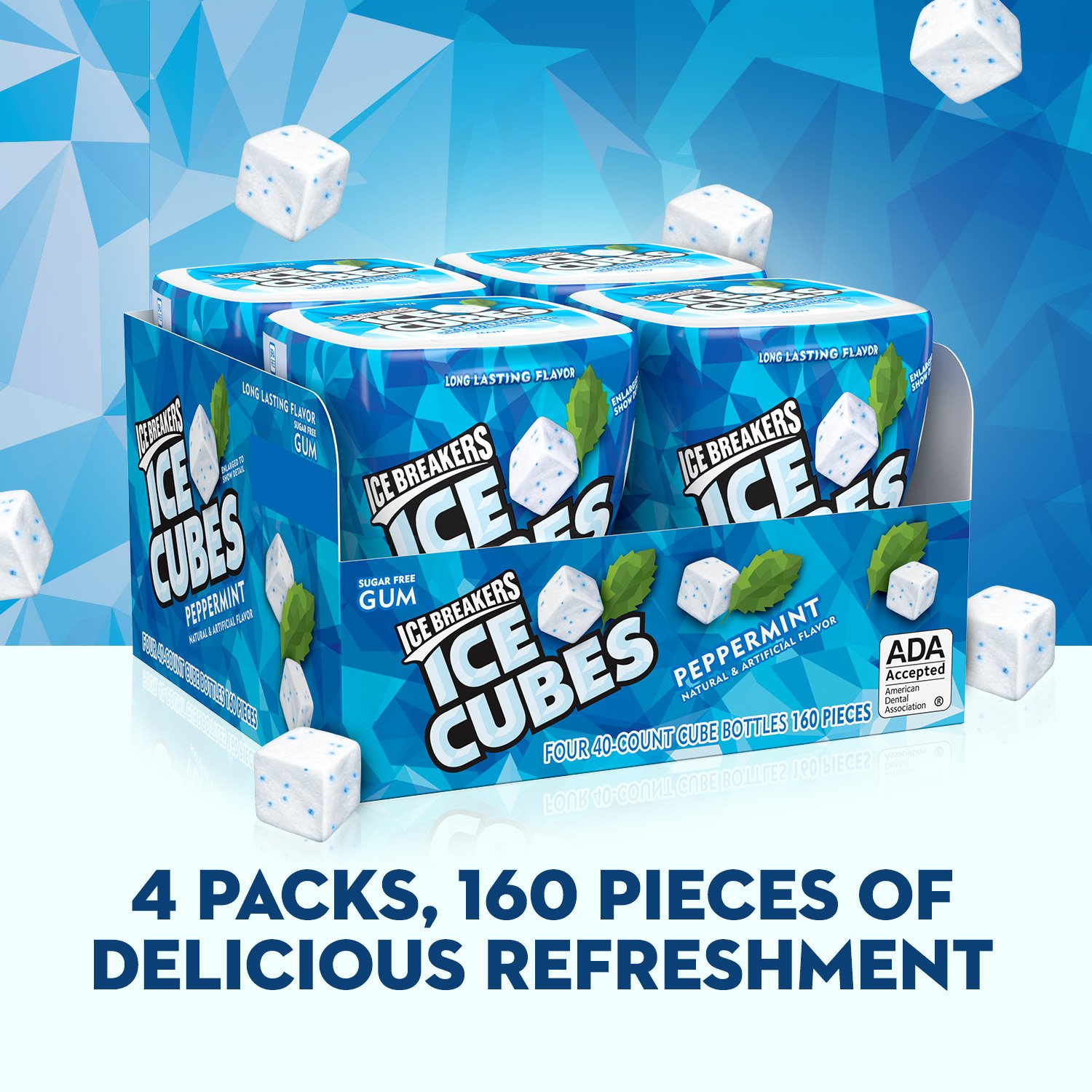 5142f1cf3e ICE BREAKERS ICE CUBES Chewing Gum, Sugar Free Peppermint, 40 pieces (Pack  of 4): Amazon.co.uk: Business, Industry & Science