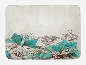 """Ambesonne Turquoise Bath Mat, Retro Floral Background with Hibiscus Silhouettes Dramatic Romantic Nature Art, Plush Bathroom Decor Mat with Non Slip Backing, 29.5"""" X 17.5"""", Beige Teal"""