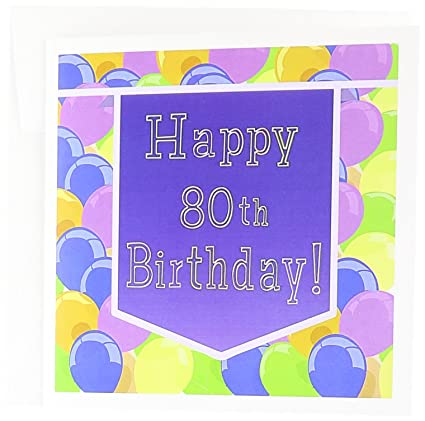 Amazon balloons with purple banner happy 80th birthday balloons with purple banner happy 80th birthday greeting card 6 x 6 inches m4hsunfo