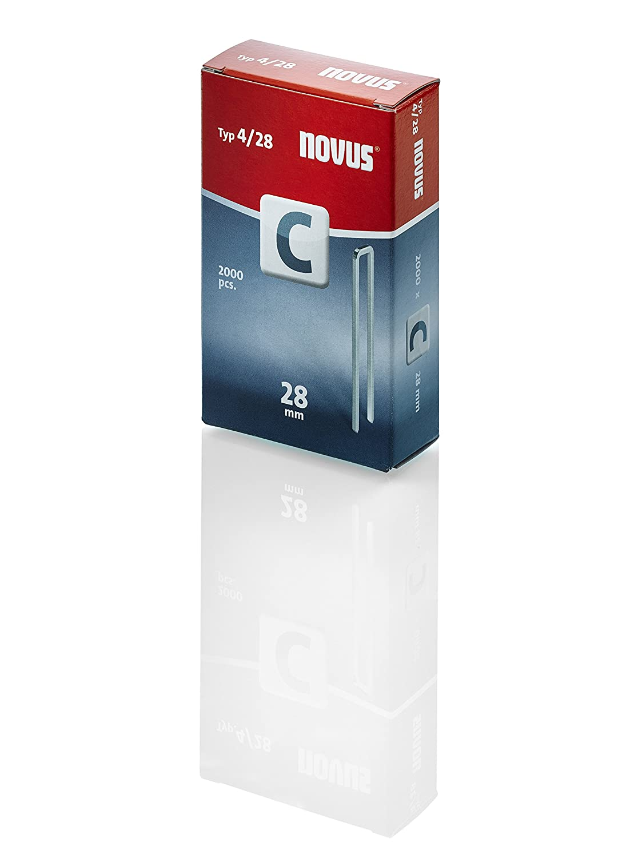 Novus Schmalrü ckenklammern 18 mm, XL-Packung, 2000 Klammern, Typ C4/18, zur Befestigung von Profilhö lzern und Paneelen 042-0594