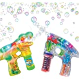 Bubble Blasters Shooter Guns by ArtCreativity - Pack of 2, includes 1 Dinosaur Shooter Gun with Exciting Sound Effects and 1 Transparent LED Gun. Battery Operated - For Age 5+ - Best Gift for Kids