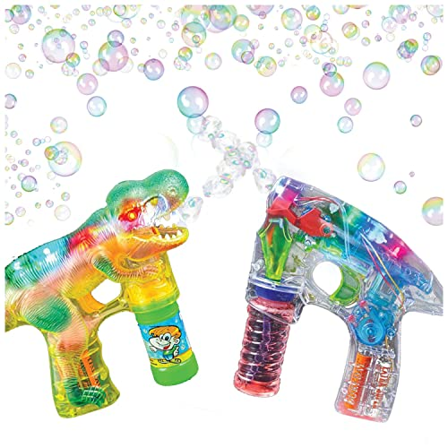Artcreativity Bubble Guns For Kids Flashing Light Up Shooter And Sounds Bubble Blower Bubble Machine Toys 1 Led Dinosaur Bubble Gun 1 Light Up Gun And 3 Bubble Solution Refills