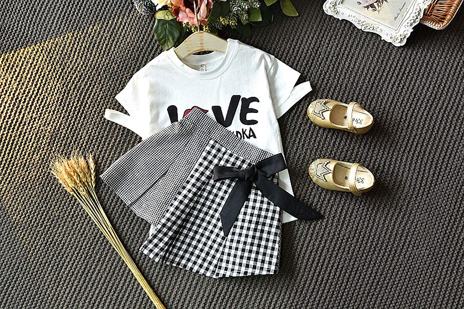 Girls Toddler Kid Love Fashion Print Short Sleeve T-Shirt Tops Skirt 2Pcs Summer Outfits Set