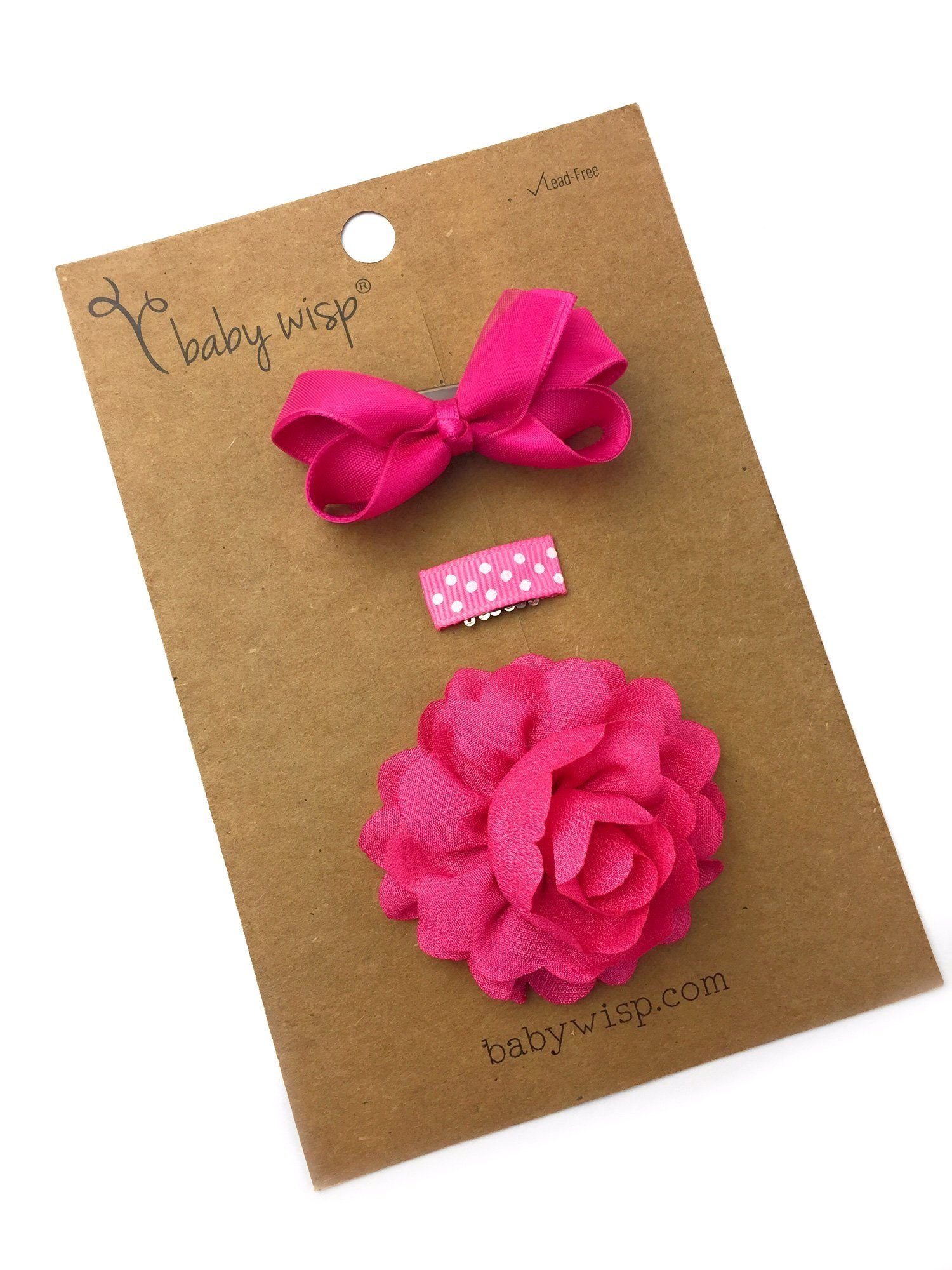 Baby Wisp Mini Latch Clip Satin Boutique Bow Grosgrain Ribbon Clip Flower Accessory Baby Girl Gift Set (Fuchsia) by Baby Wisp (Image #2)