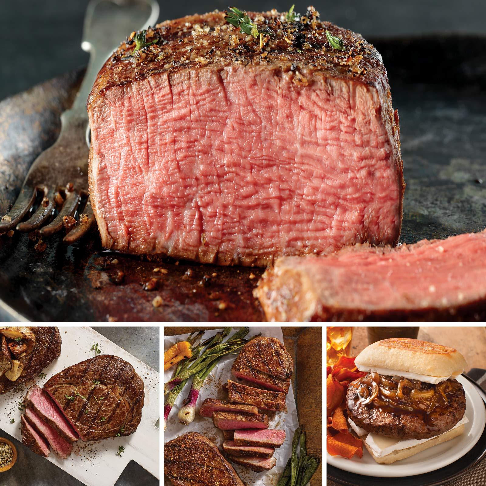 Omaha Steaks Santa's Steak Combo (10-Piece with Filet Mignons, Ribeyes, Boneless New York Strips, and Steak Burgers)