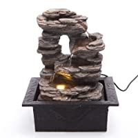 Cascading Rocks Spring Indoor Water Fountain with LED Light | Size 21 * 17.5 * 25 Cm | 3 Pin UK Plug Included |