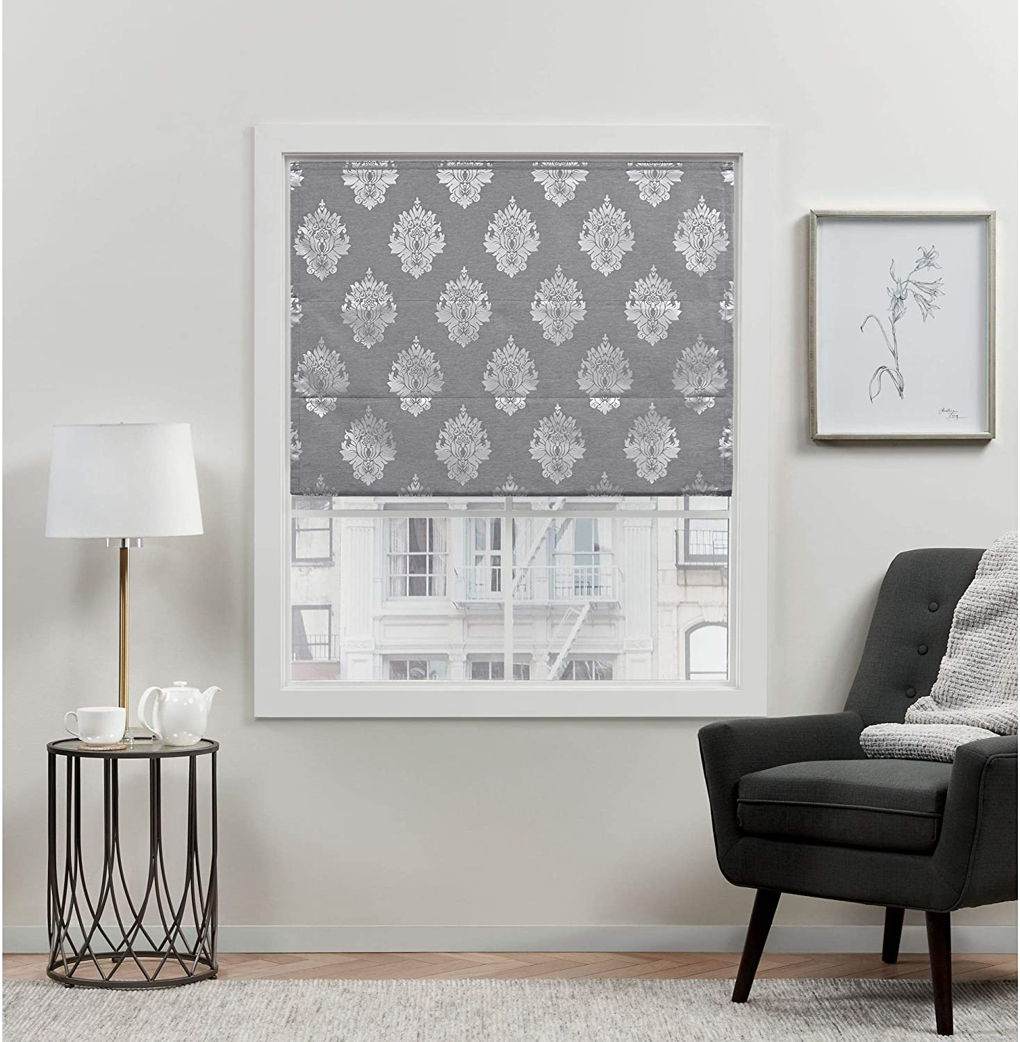 Exclusive Home Curtains Marseilles Damask Blackout Roman Shade, 31x64, Grey
