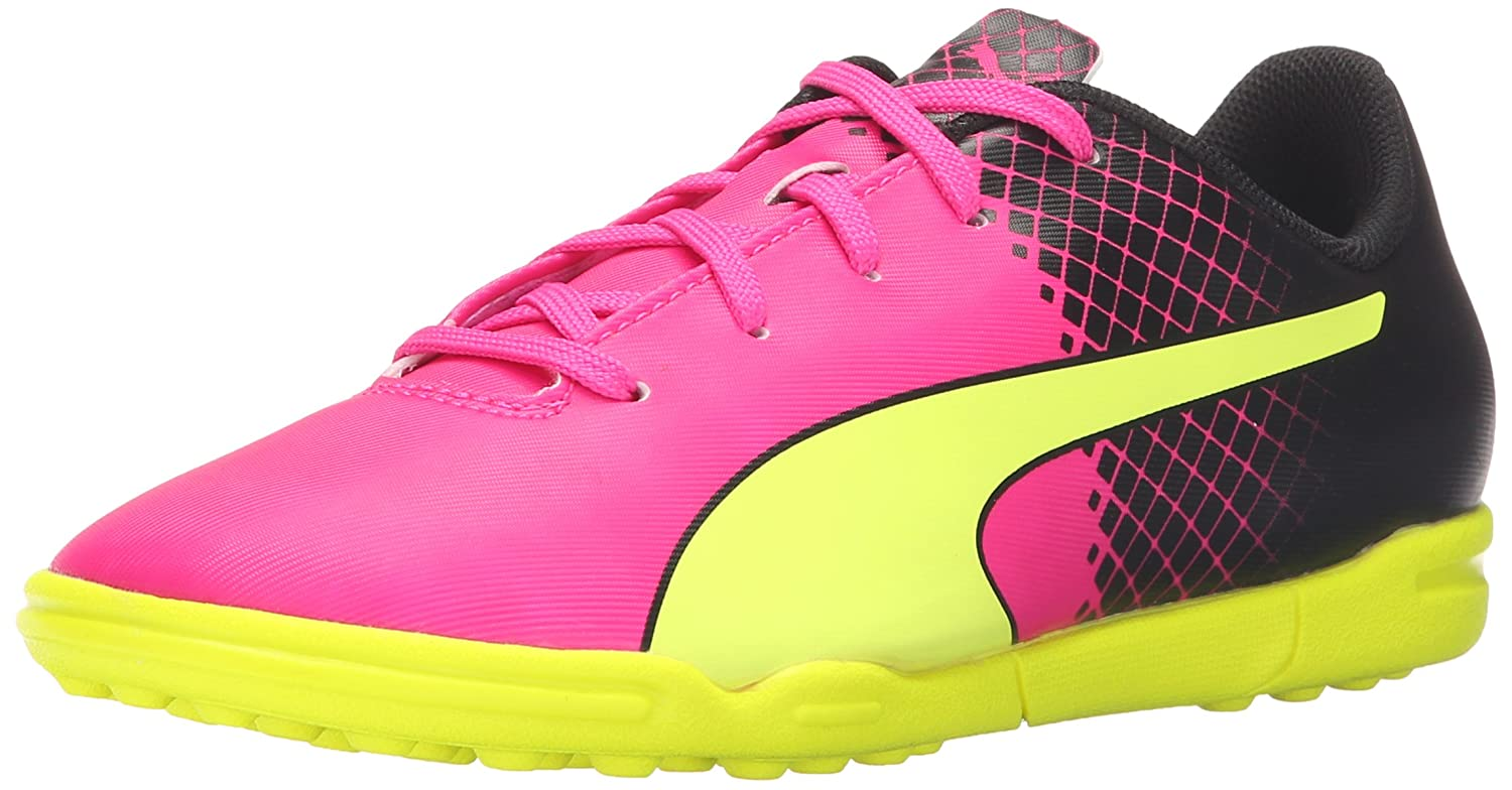 PUMA Evospeed 5.5 Tricks TT JR Limited Edition Soccer Cleat (Little Kid Big Kid), Pink Glo Safety Yellow, 5 B US Big Kid