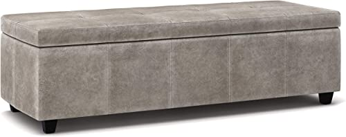Simpli Home Castleford 48 inch Wide Transitional Rectangle Lift Top Storage Ottoman in Upholstered Distressed Grey Tufted Tufted Faux Air Leather with Large Storage Space for Living Room, Entryway