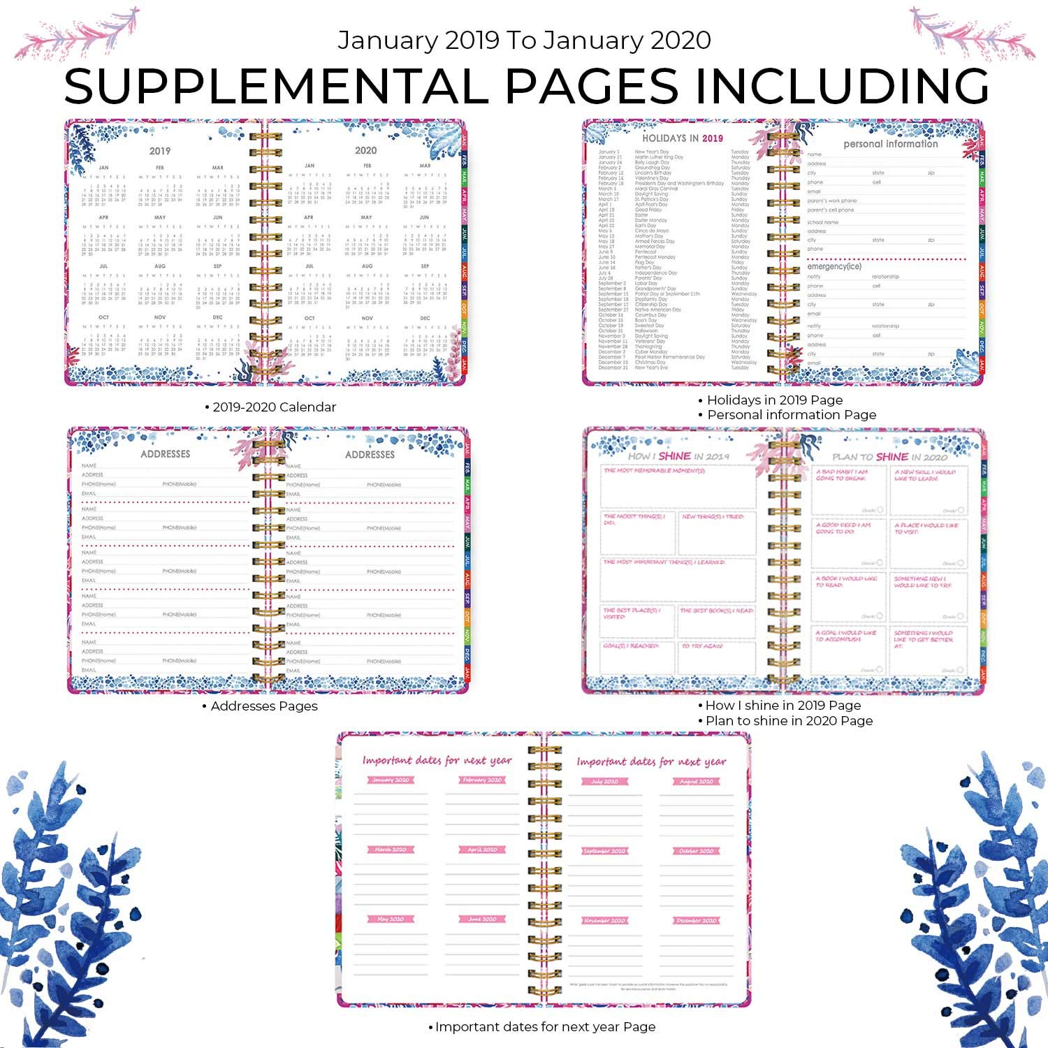 Jan 2019 - Jan 2020 2019 Hardcover Watercolor Planner Undersea World Weekly//Monthly//Yearly All Inclusive Planner to Help Reach Your 2019 Goals