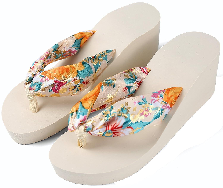 Aerusi Women's Floral Strap Wedge Flip-Flop Sandals B06XWNFHZS 7.5 M US|White