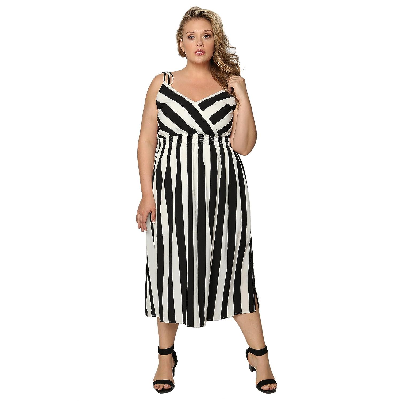 bd57464124c Astra Signature Women  s Sexy V Neck Stripe Sleeveless Spaghetti Straps A  Line Elastic Waist Midi Dress at Amazon Women s Clothing store