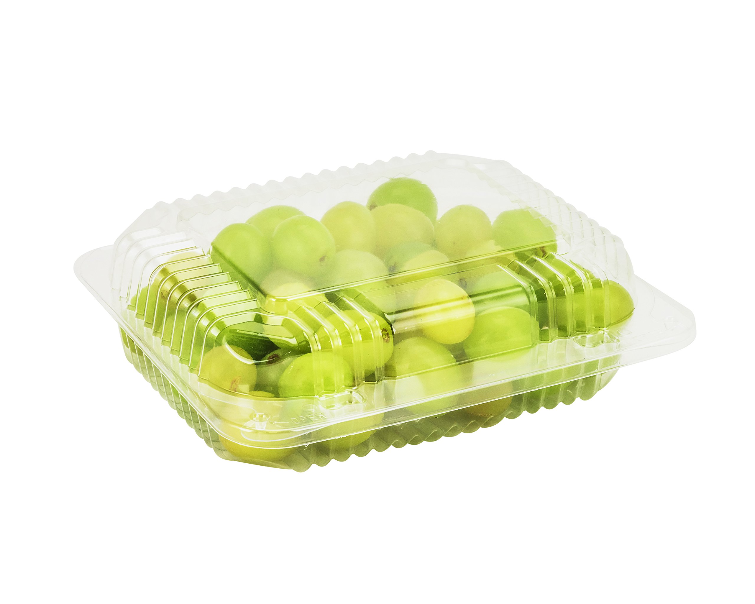 Dart C26UT1, 7''x6''x2'' StayLock Clear Oblong Container With Clear Hinged Lid, Take Out Salad Dessert Fruit Deli Food Disposable Containers (100)