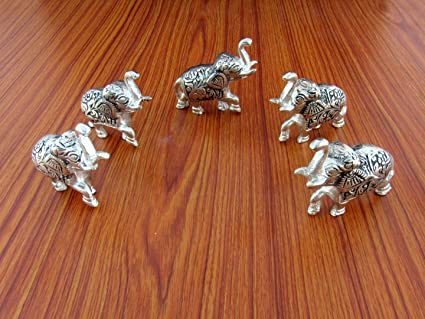 GoldGiftIdeas Oxidized White Metal Elephant Set Showpiece for Home Decor, Return Gift for Housewarming,