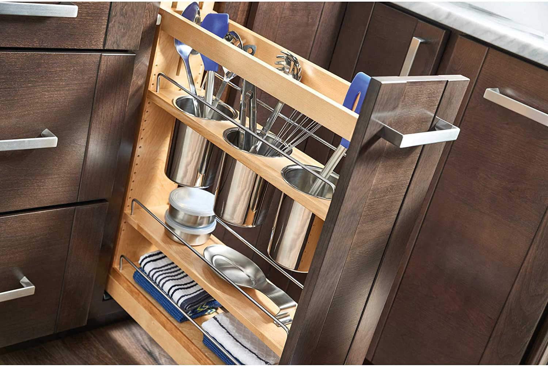 Natural Rev-A-Shelf 448UT-BCSC-8C-8 Pull-Out Wood Base Cabinet Utensil Organizer with 3 Bins /& Soft-Close Slides