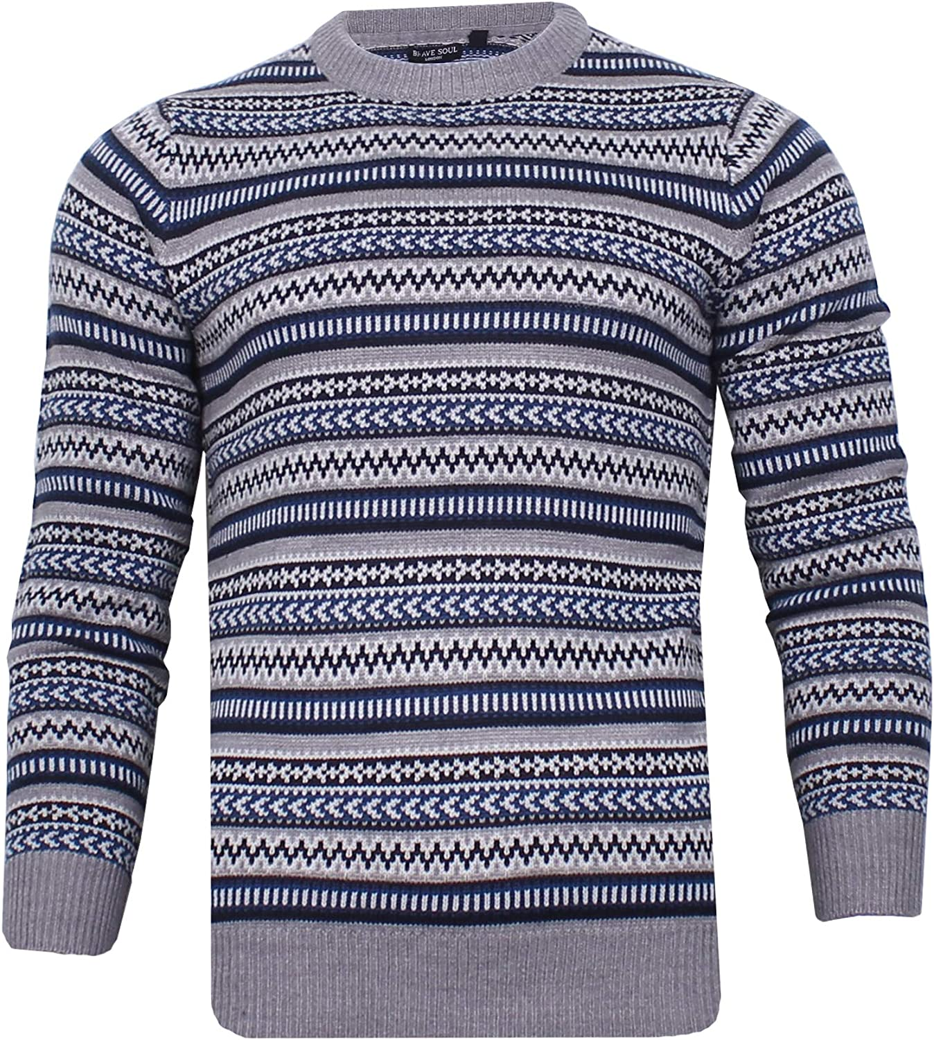 Men's Vintage Sweaters, Retro Jumpers 1920s to 1980s BRAVE SOUL Mens Knitted Fairisle Jumper Christmas Crew Neck Winter Knitwear £17.99 AT vintagedancer.com