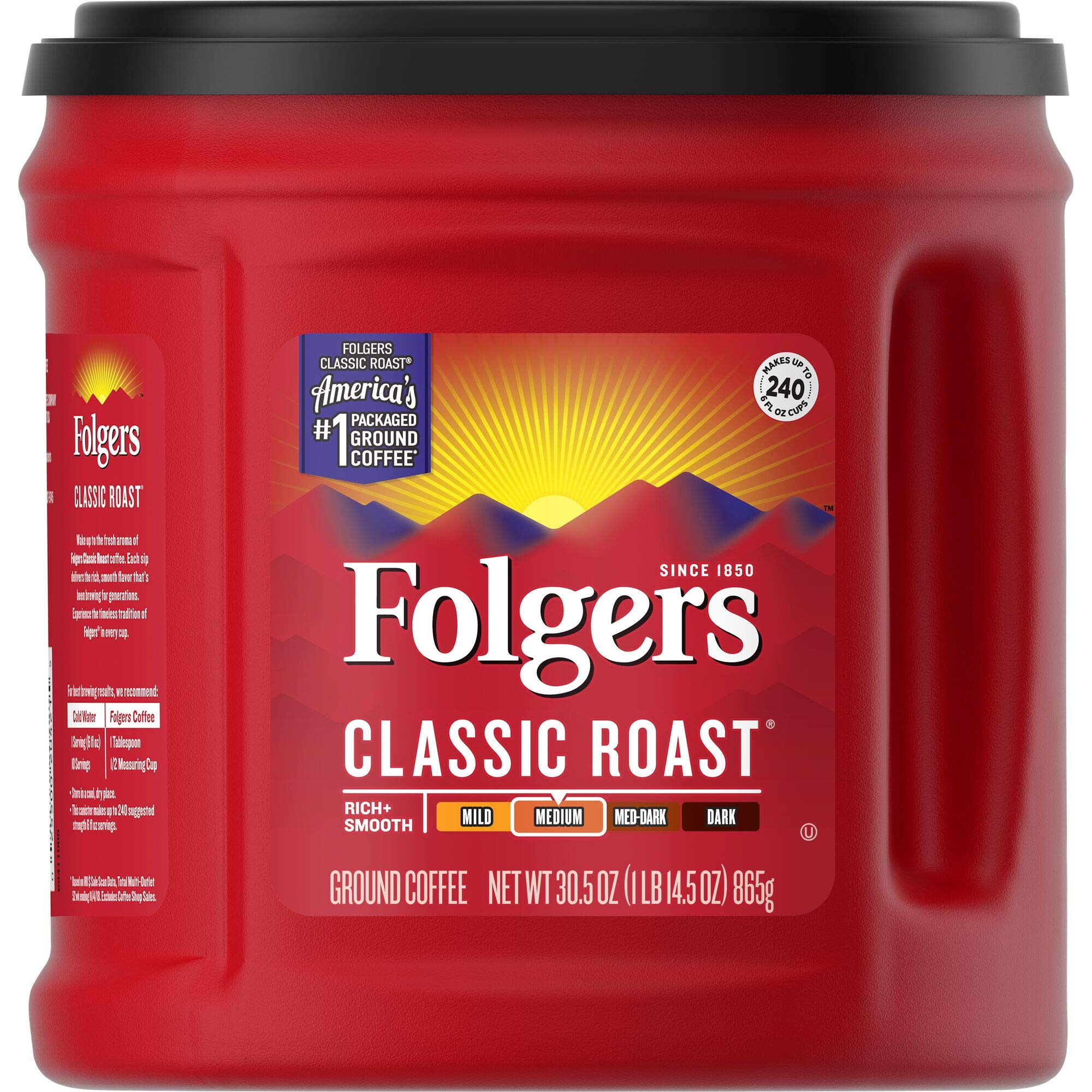 Folgers Classic Roast Ground Coffee, Medium Roast, 30.5 Ounce (Pack of 6), Packaging May Vary by Folgers