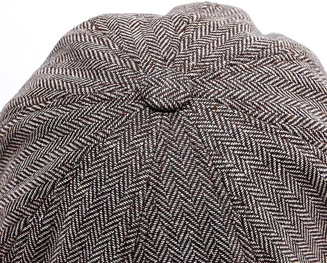 8 Panel Peaky Herringbone Tweed Gatsby Hat Ivy Irish Cap for Men and Women fit 56~62cm KeepSa Newsboy Cap Baker Boy Hat Flat Caps