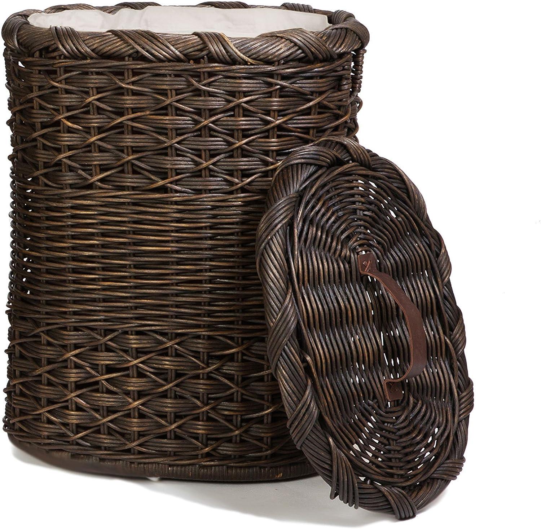 The Basket Lady Oval Wicker Laundry Hamper, Large, 19 in L x 15 in W x 25 in H, Antique Walnut Brown