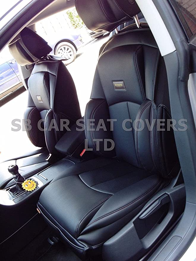2 FRONTS SEAT COVERS TO FIT A AUDI A6 CAR YS 01 ROSSINI GREY//BLACK