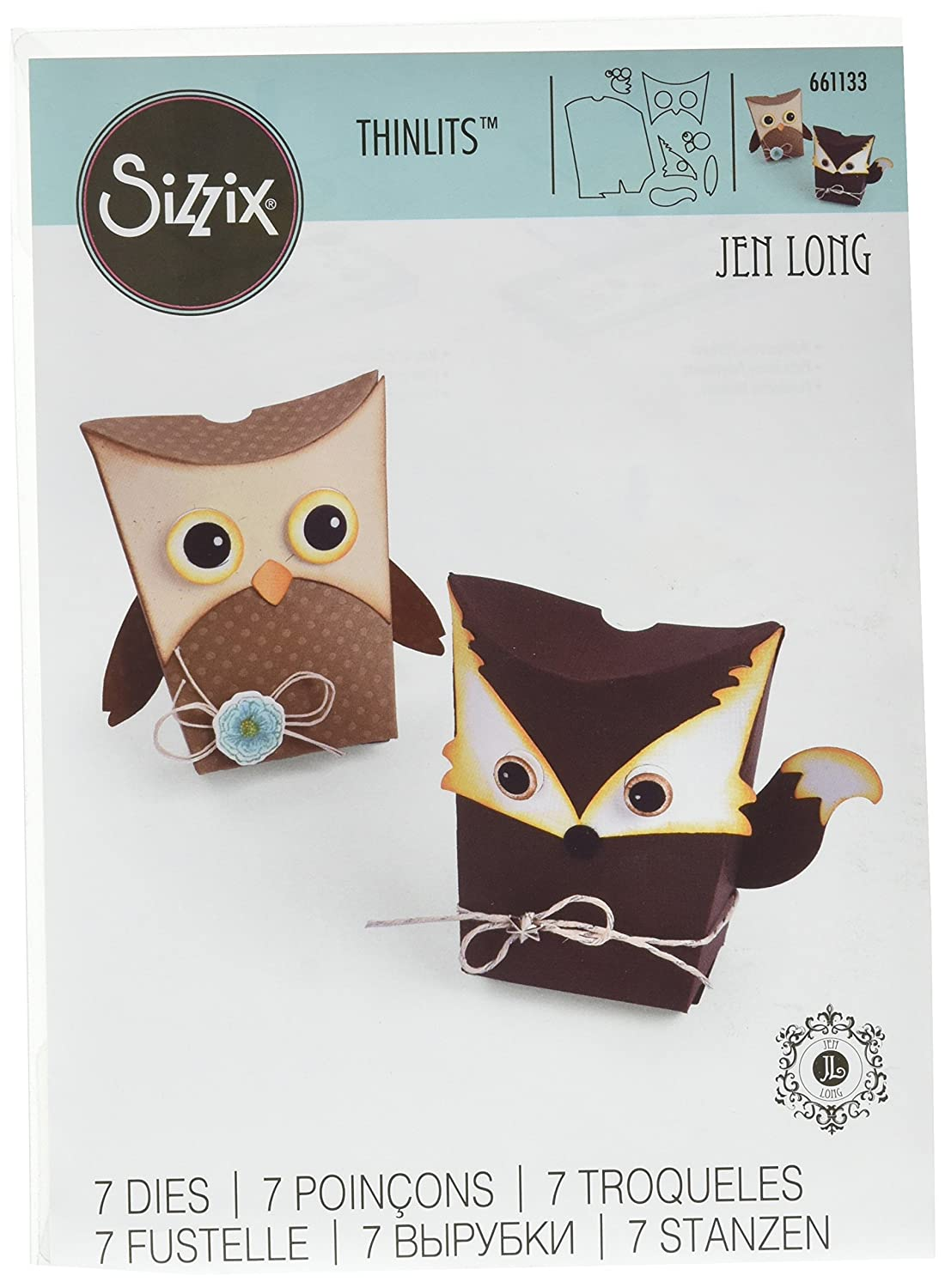 Amazon Sizzix 661133 Box Owl Fox Thinlits Die Set By Jen Long