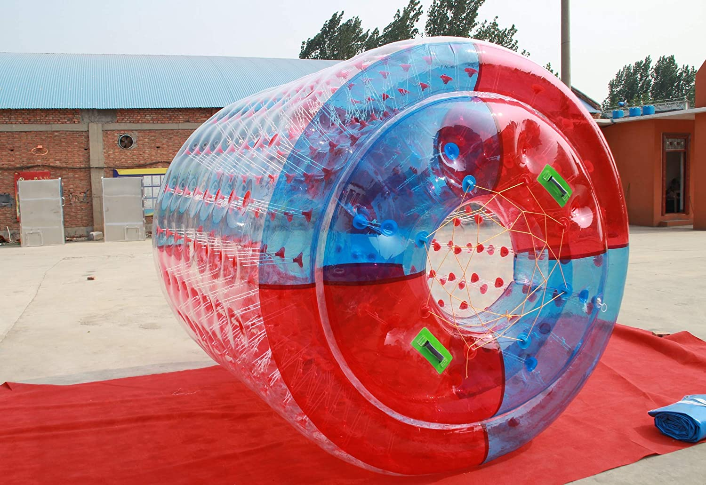 Water Roller rulo acuático a PVC 1,0 mm Grosor acuático Hinchable Inflable Grande 2.4m x 2.2m x 1.6m. PVC. (Rojo y Azul)