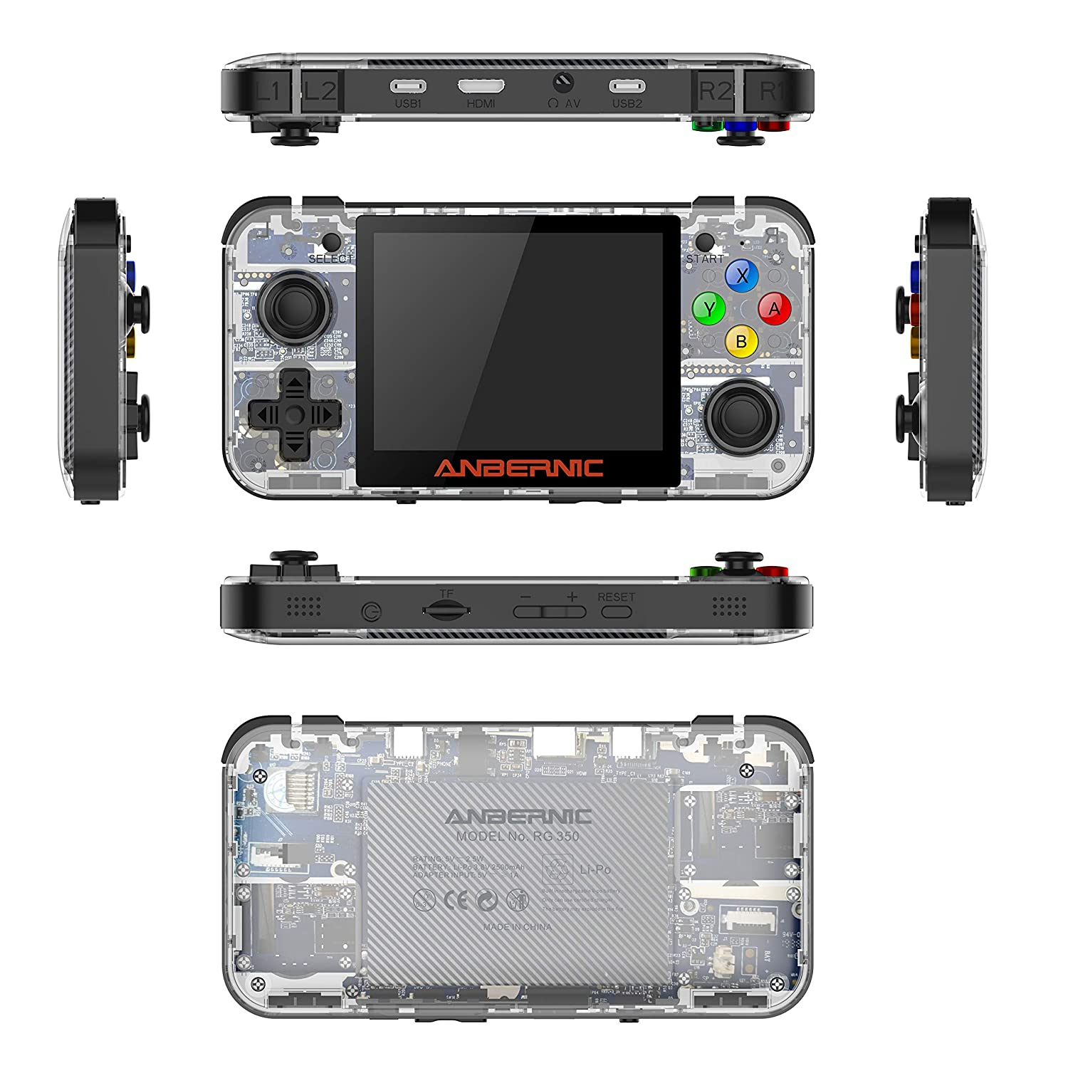 Transparent White RG350 Retro Game Console OpenDingux Tony System Handheld Game Console Free with 32G TF Card Built-in 2500 Classic Game Console 3.5 Inch IPS Screen Portable Video Game Console