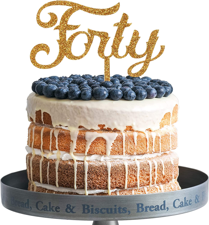 Strange Amazon Com Forty Happy Birthday Cake Topper Gold Glitter Acrylic Birthday Cards Printable Benkemecafe Filternl