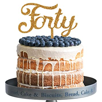 Amazon Forty Happy Birthday Cake Topper Gold Glitter Acrylic