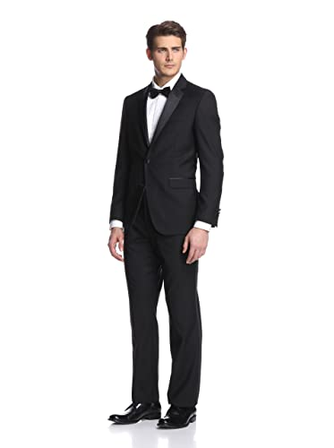 Kenneth Cole New York Men's Slim Fit Tuxedo,Black, 38 Short/32 Waist