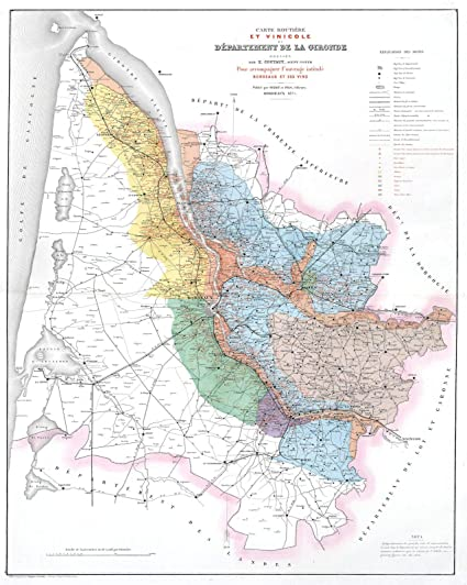 Map Of France Bordeaux.Amazon Com Historical 1875 Feret And Fils Wine Map Of The Gironde