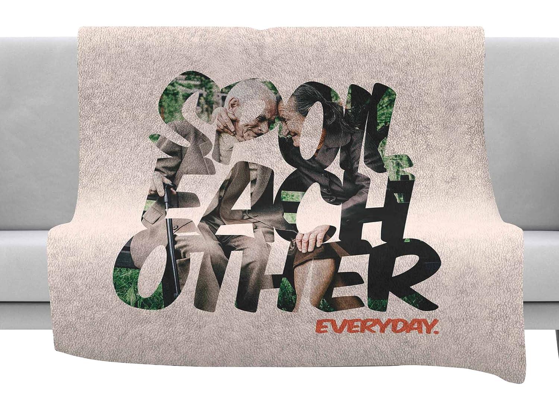 Kess InHouse Just L Spoil Each Other Pink Green Throw 80 x 60 Fleece Blanket