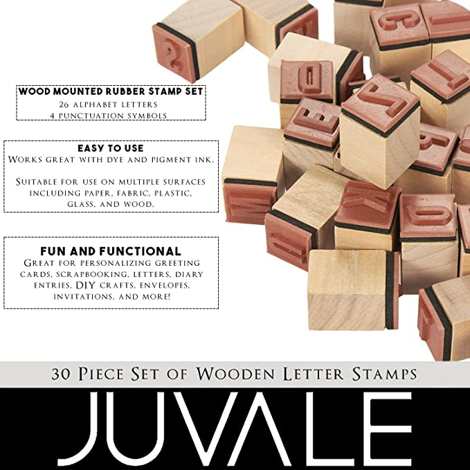 3fc248d2b23dc Amazon.com: Wooden ABC Stamps - 30-Piece Alphabet Stamps Letters and  Symbols Set - Wood Mounted Rubber Stamps for Card Making, DIY Crafts, ...